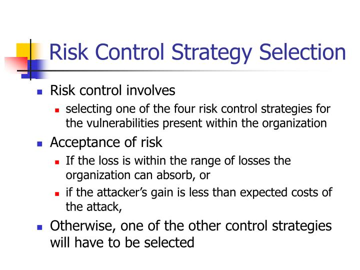 Risk Control Strategy Selection