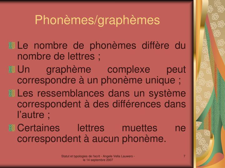 Phonèmes/graphèmes