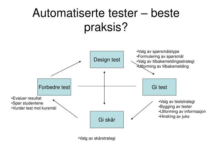 Automatiserte tester – beste praksis?