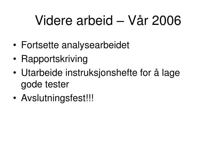 Videre arbeid – Vår 2006
