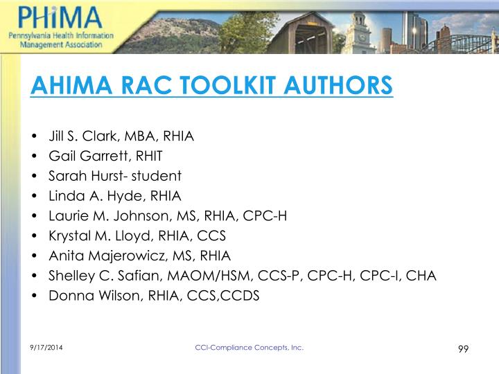 AHIMA RAC TOOLKIT AUTHORS