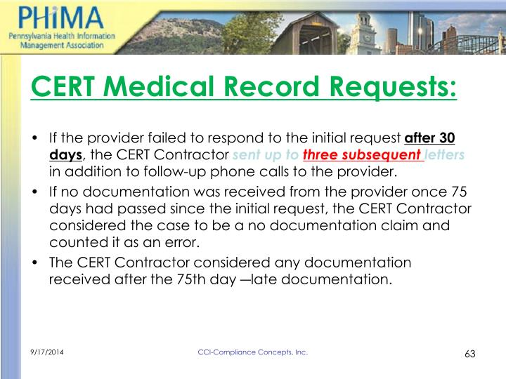 CERT Medical Record Requests: