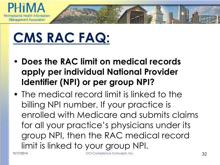 CMS RAC FAQ: