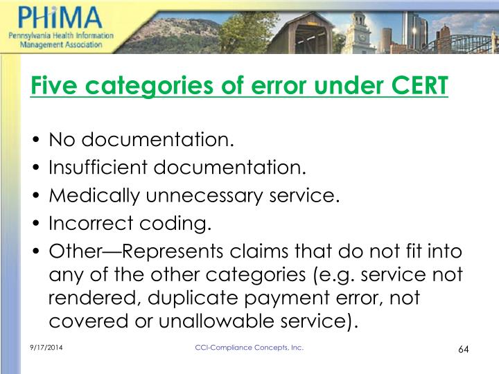 Five categories of error under CERT