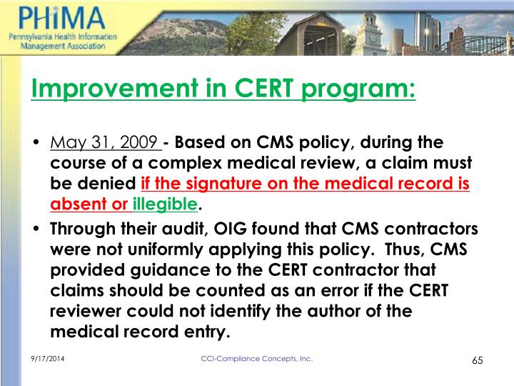 Improvement in CERT program:
