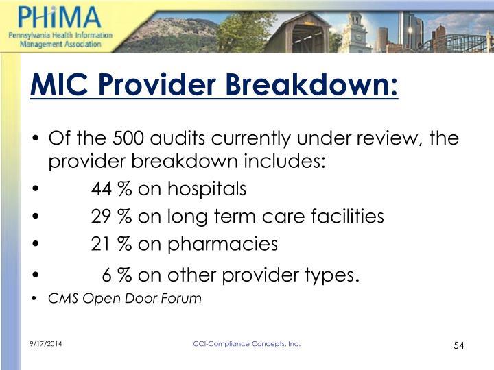 MIC Provider Breakdown: