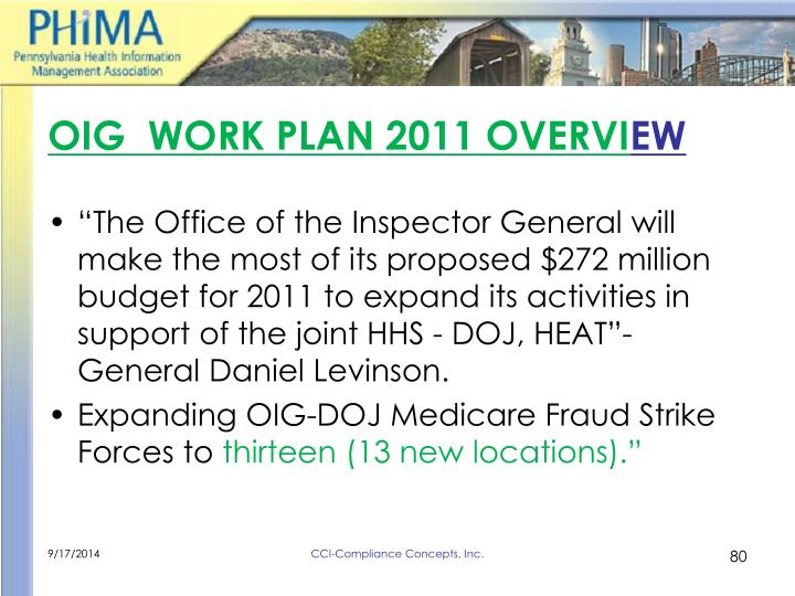 OIG  WORK PLAN 2011 OVERVI
