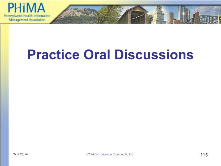 Practice Oral Discussions