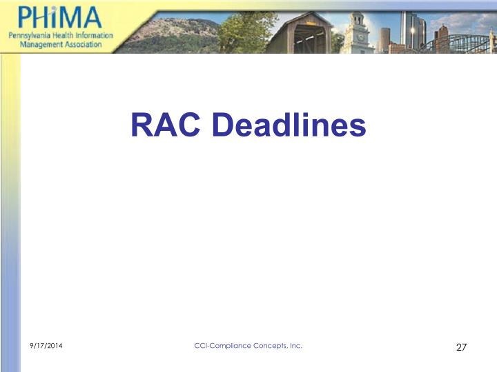 RAC Deadlines