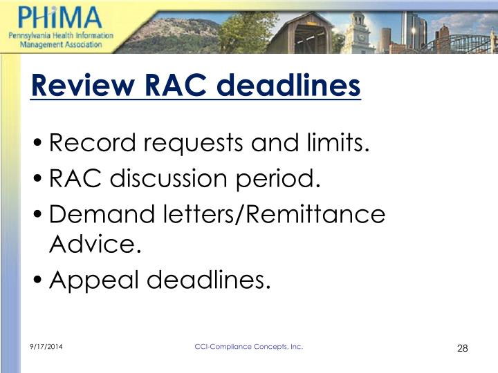 Review RAC deadlines