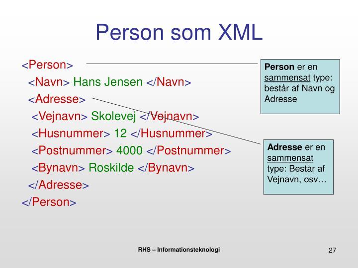 Person som XML