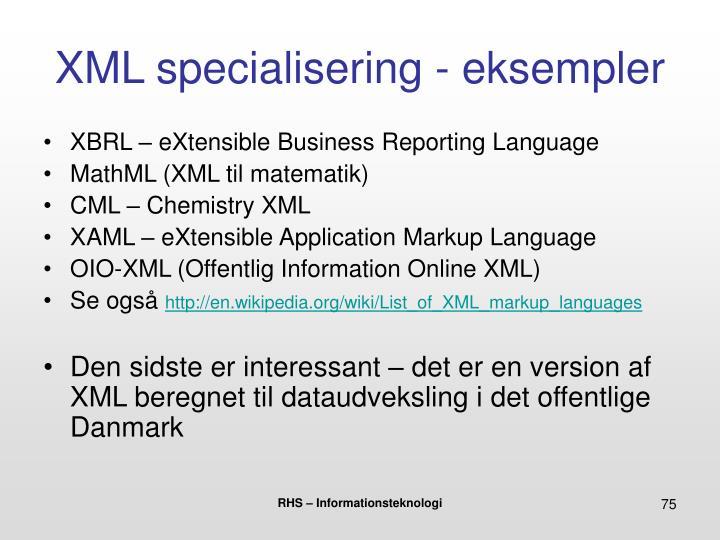 XML specialisering - eksempler
