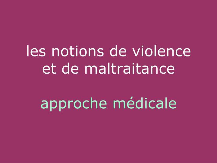 les notions de violence