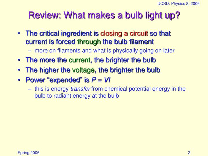 Review what makes a bulb light up