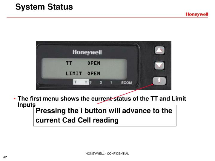 Pressing the i button will advance to the current Cad Cell reading