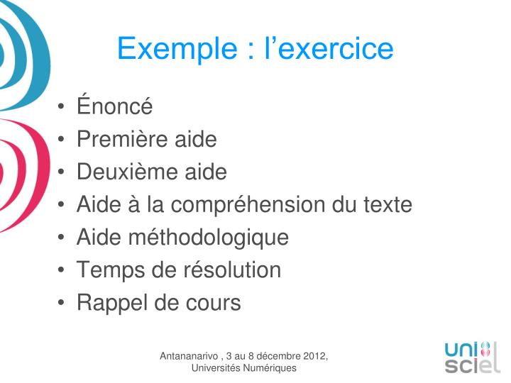 Exemple : l'exercice