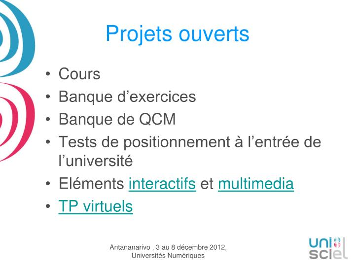 Projets ouverts