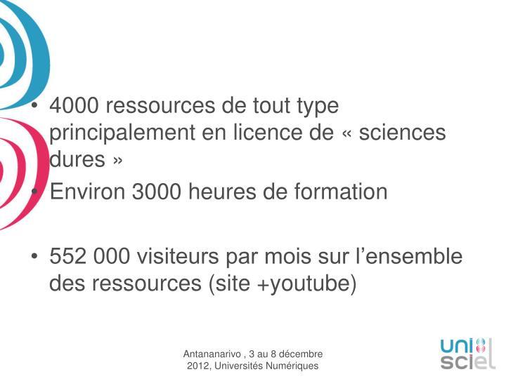 4000 ressources de tout type principalement en licence de «sciences dures»