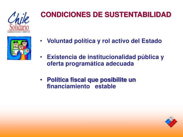 CONDICIONES DE SUSTENTABILIDAD