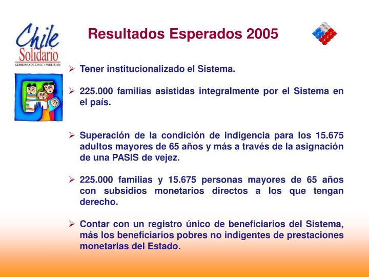 Resultados Esperados 2005