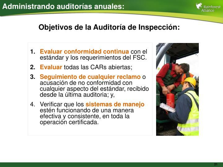 Administrando auditorías anuales: