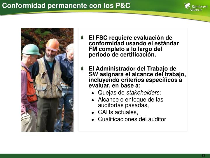 Conformidad permanente con los P&C