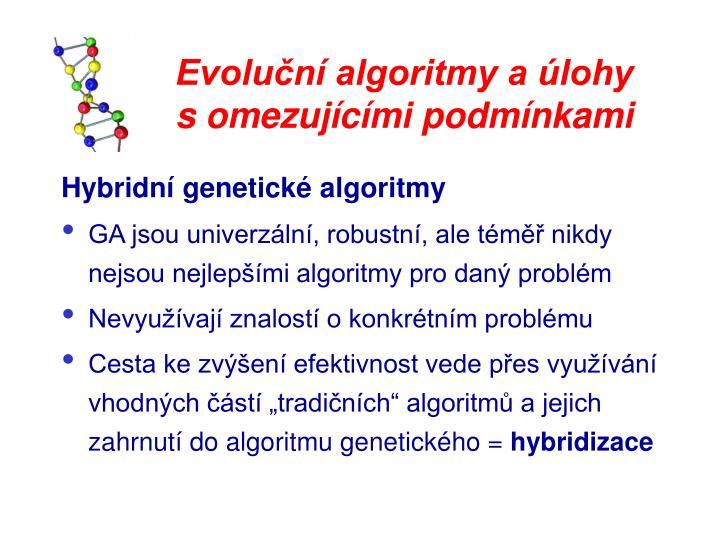 Evoluční algoritmy a úlohy