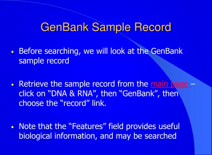 GenBank Sample Record