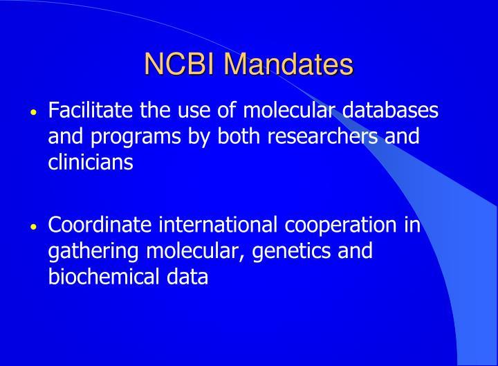 NCBI Mandates