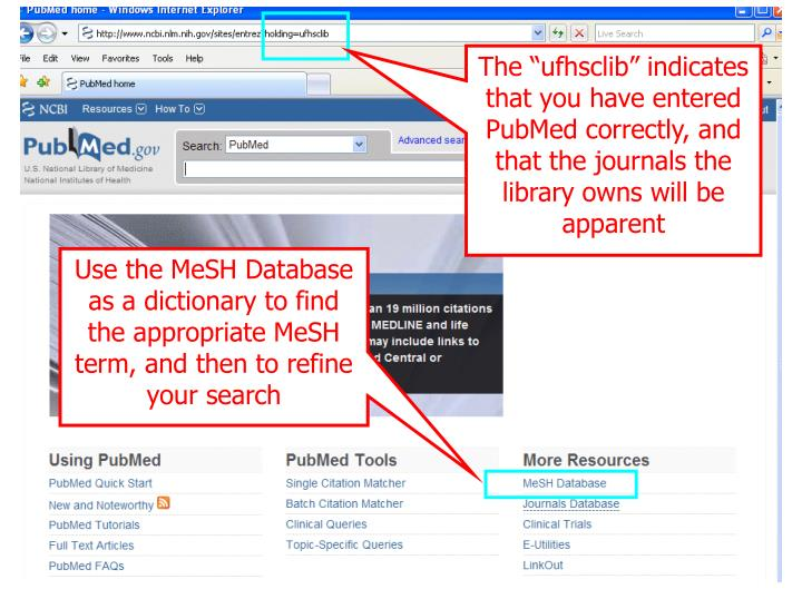 "The ""ufhsclib"" indicates that you have entered PubMed correctly, and that the journals the library owns will be apparent"