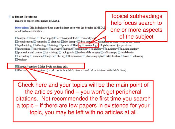 Topical subheadings help focus search to one or more aspects of the subject