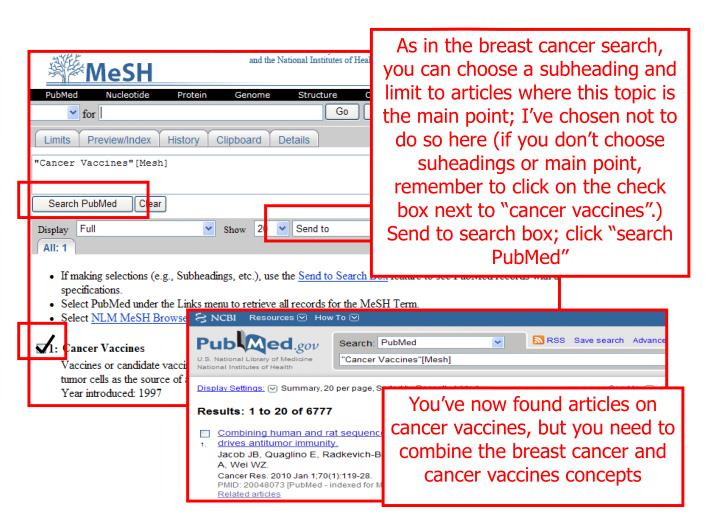 "As in the breast cancer search, you can choose a subheading and limit to articles where this topic is the main point; I've chosen not to do so here (if you don't choose suheadings or main point, remember to click on the check box next to ""cancer vaccines"".)  Send to search box; click ""search PubMed"""