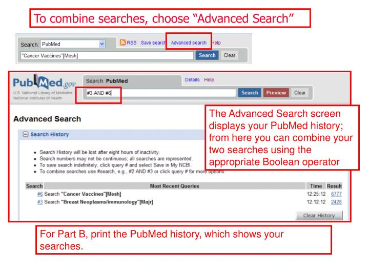 "To combine searches, choose ""Advanced Search"""