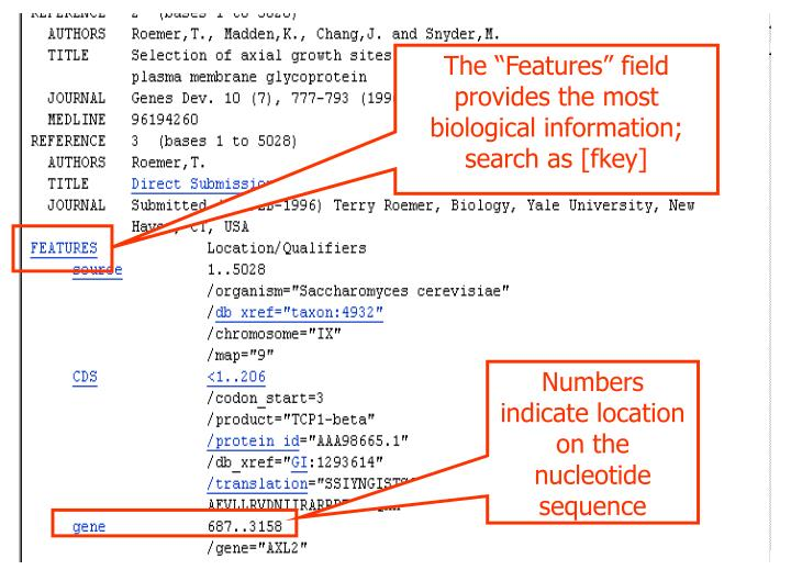 "The ""Features"" field provides the most biological information; search as [fkey]"