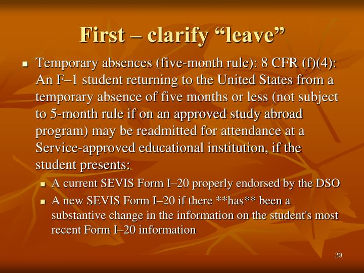 "First – clarify ""leave"""