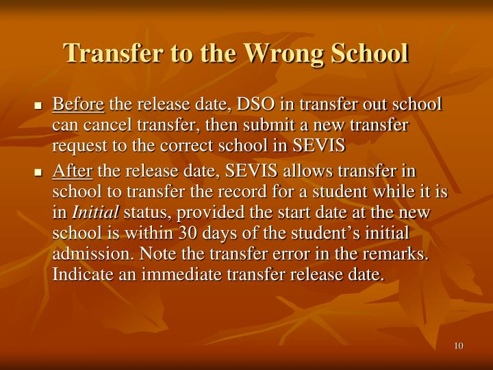 Transfer to the Wrong School