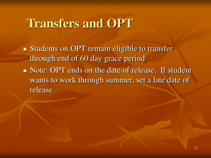 Transfers and OPT