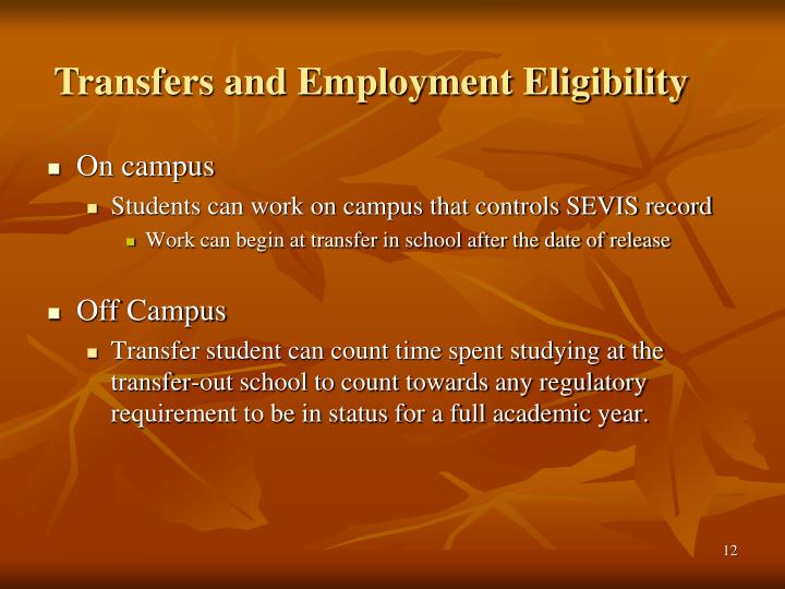 Transfers and Employment Eligibility