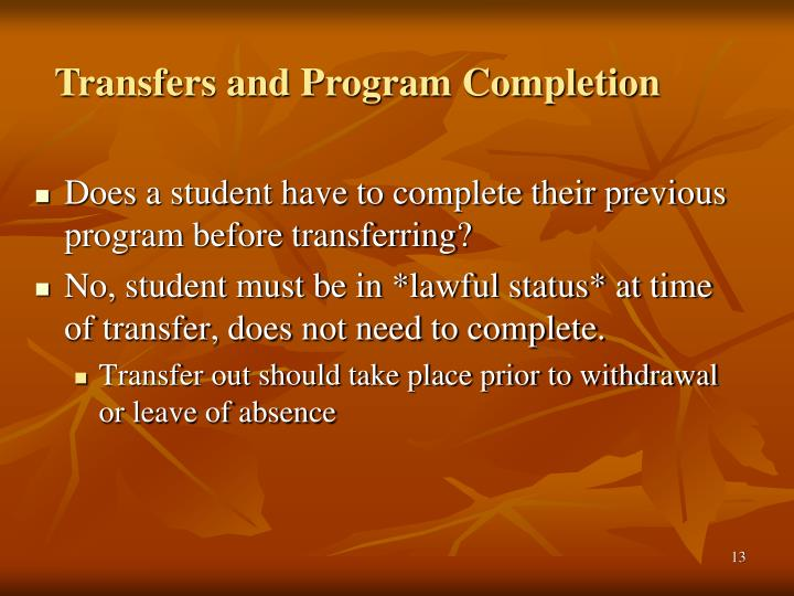 Transfers and Program Completion