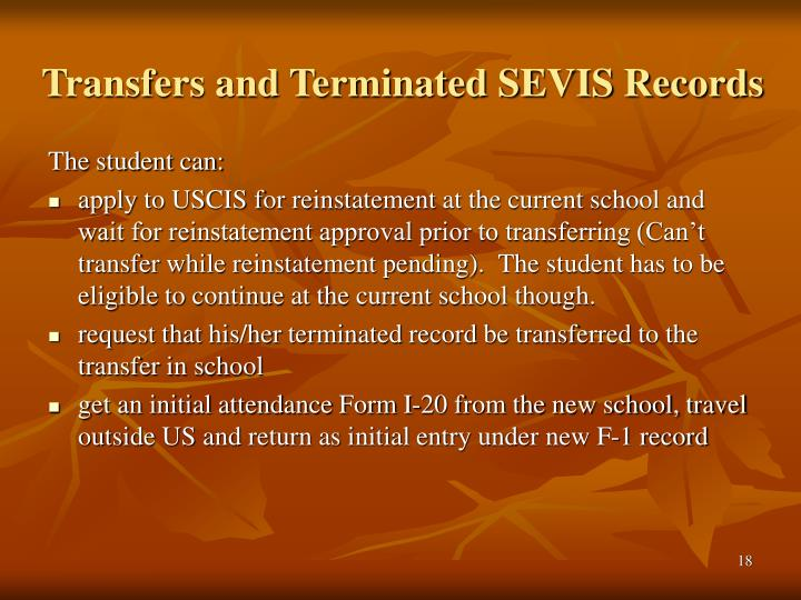 Transfers and Terminated SEVIS Records