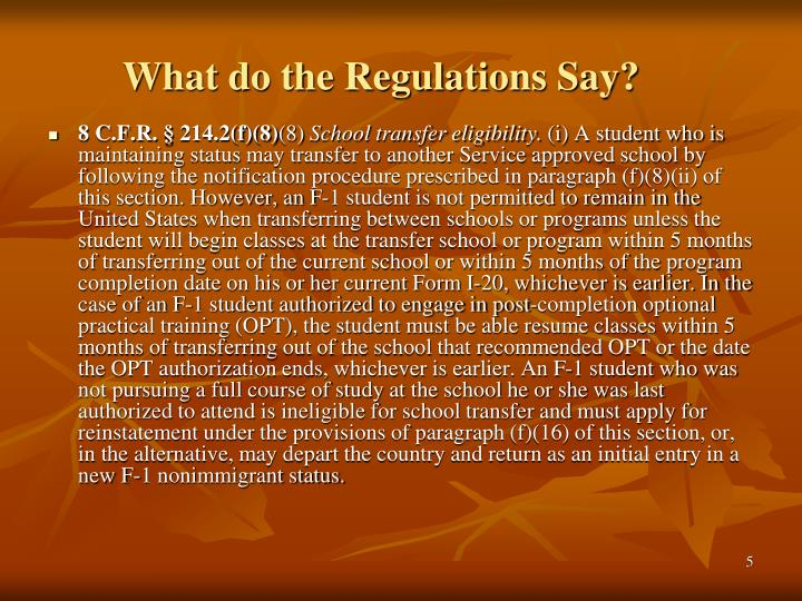 What do the Regulations Say?