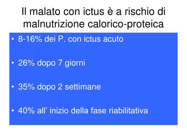 Il malato con ictus è a rischio di malnutrizione calorico-proteica