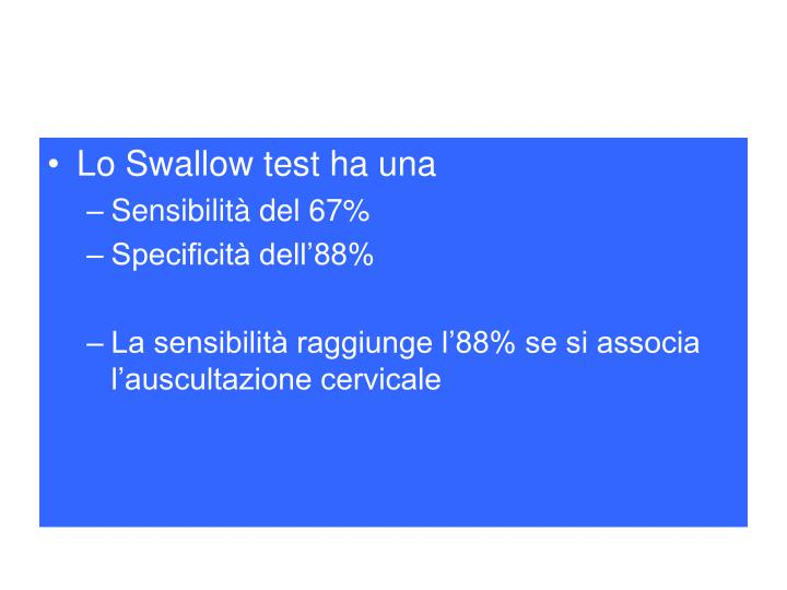 Lo Swallow test ha una