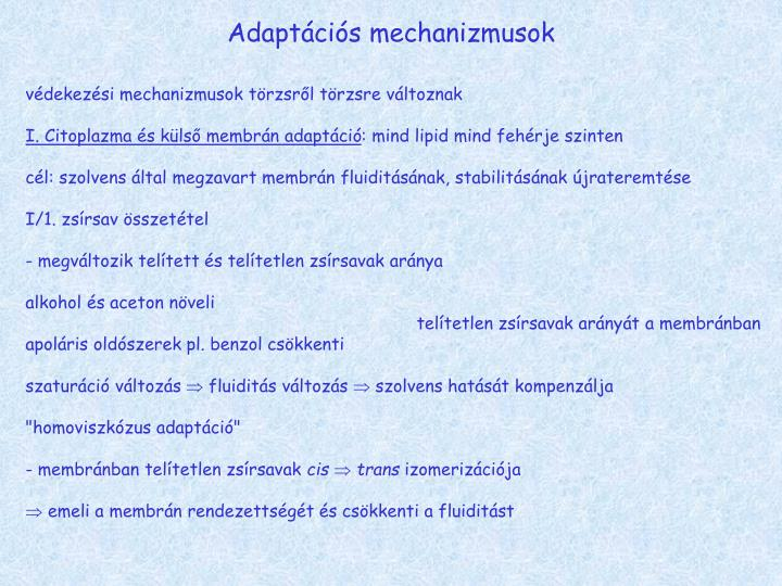 Adaptációs mechanizmusok