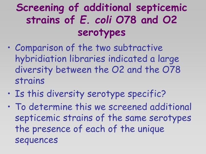 Screening of additional septicemic strains of