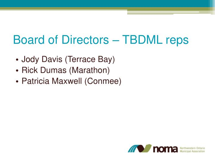 Board of Directors – TBDML reps