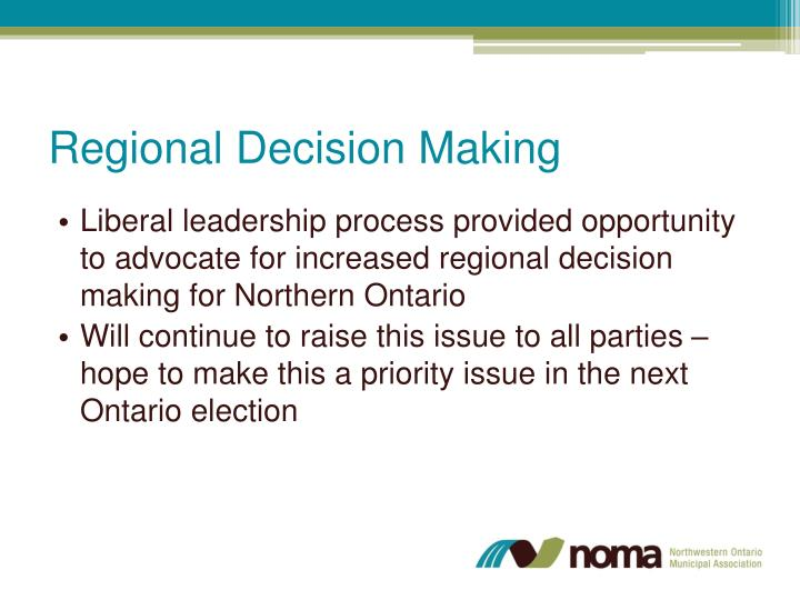 Regional Decision Making