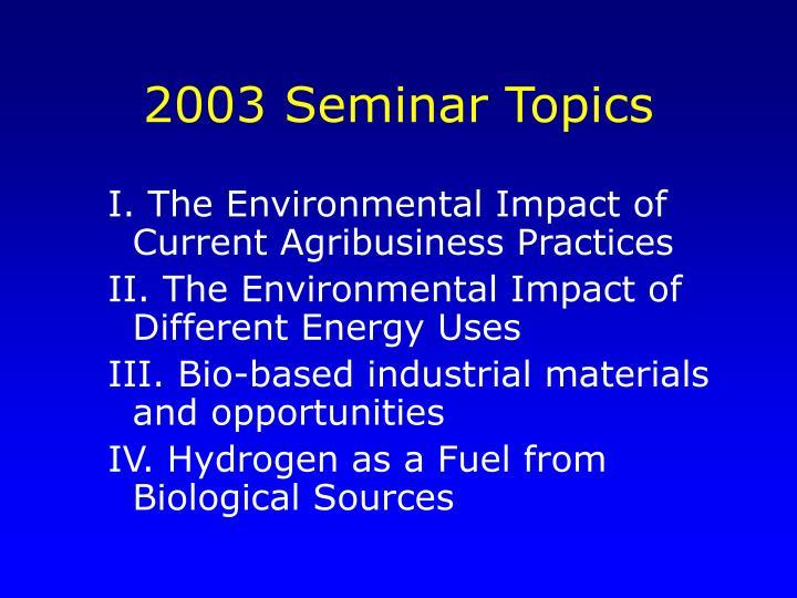 2003 Seminar Topics