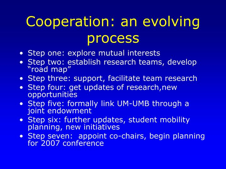 Cooperation an evolving process
