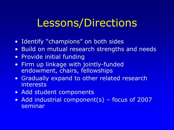 Lessons/Directions
